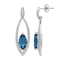 David Tutera Sterling Silver Simulated Blue Topaz & Cubic Zirconia Marquise Drop Earrings