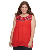 Plus Size AB Studio Embroidered Gauze Tank