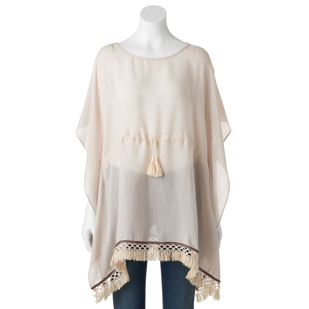 SONOMA Goods for Life™ Drawstring Tassel Crocheted Kimono
