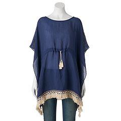 SONOMA Goods for Life™ Drawstring Tassel Crocheted Kimono