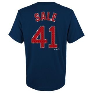 Boys 8-20 Majestic Boston Red Sox Chris Sale Metal Grid Player Name and Number Tee