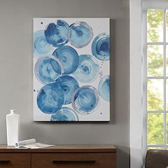 Madison Park Cerulean Circles Blue Canvas Wall Art