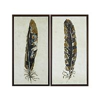 Urban Habitat Gilded Feathers Framed Canvas Wall Art 2-piece Set