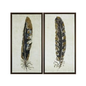 Urban Habitat Gilded Feathers Framed Canvas Wall Art 2-piece Set