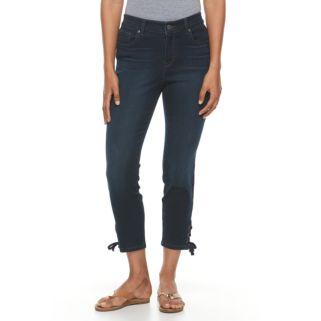 Petite Gloria Vanderbilt Alexandra Lace-Up Ankle Jeans