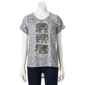 Juniors' Stacked Elephants High Low Graphic Tee