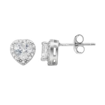 Sterling Silver Lab-Created White Sapphire & Diamond Accent Heart Stud Earrings