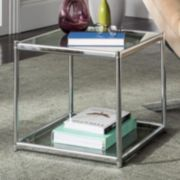 Safavieh Chrome Finish Glass End Table