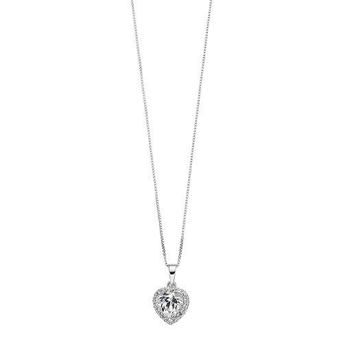 Sterling Silver Lab-Created White Sapphire & Diamond Accent Heart Halo Pendant
