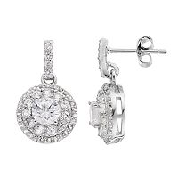 Sterling Silver Lab-Created White Sapphire & Diamond Accent Halo Drop Earrings