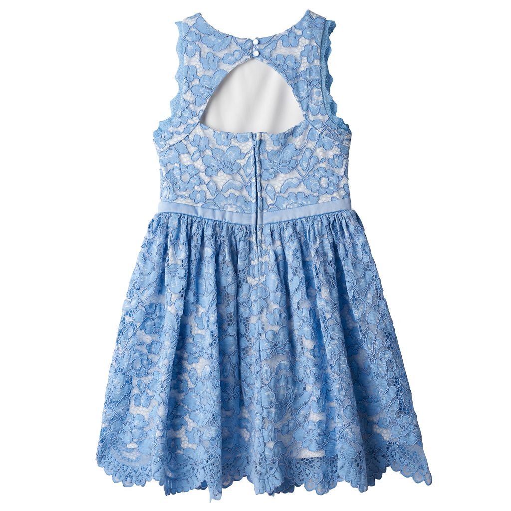 Girls 7-16 Lilt Blue Lace Overlay Dress
