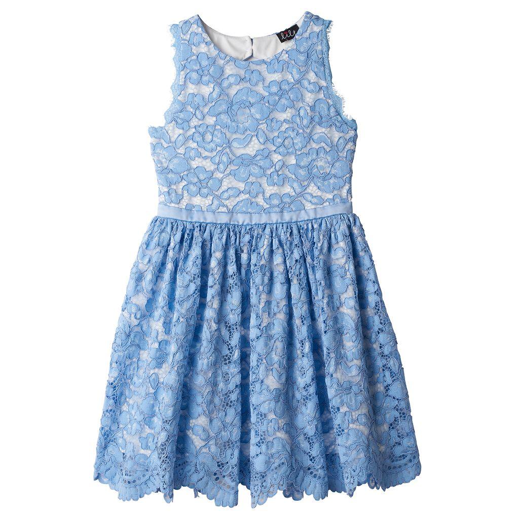 Girls 7-16 Lilt Blue Lace Overlay Dress
