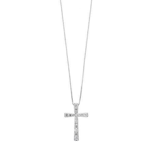 Sterling Silver Lab-Created White Sapphire & Diamond Accent Cross Pendant