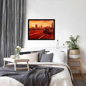 "Americanflat ""London Bus Dusk"" Framed Wall Art"