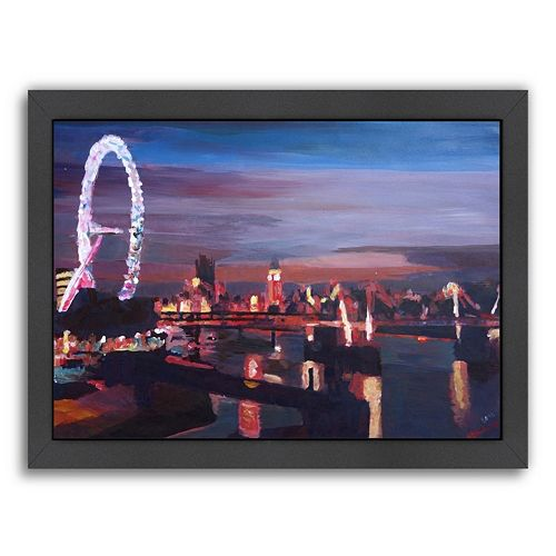 "Americanflat ""London Eye Night"" Framed Wall Art"