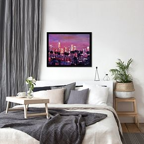 "Americanflat ""Los Angeles Golden Skyline 2"" Framed Wall Art"