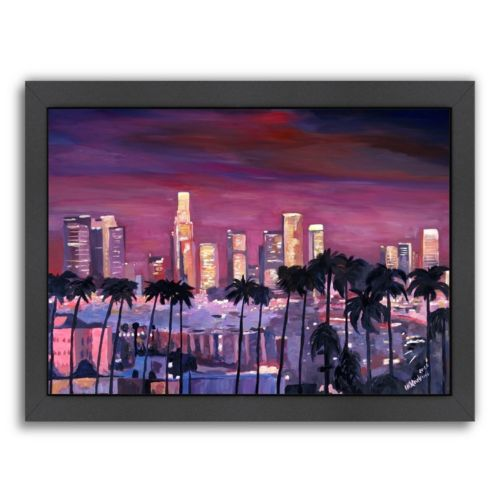 "Americanflat ""Los Angeles Golden Skyline 3"" Framed Wall Art"