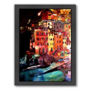 "Americanflat ""Magic Cinque Terre Night In Riomaggiore"" Framed Wall Art"