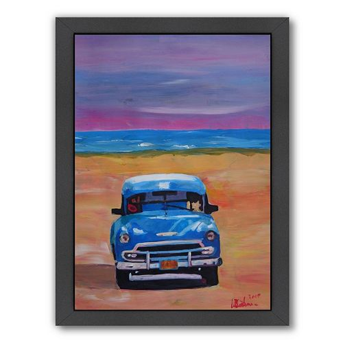 """Americanflat """"Magnificent Blue Oldtimer In Cuba At Beach"""" Framed Wall Art"""