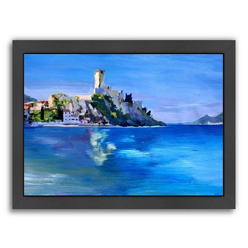 "Americanflat ""Malcesine With Castello Scaligero 2"" Framed Wall Art"