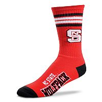Adult For Bare Feet North Carolina State Wolfpack Deuce Striped Crew Socks