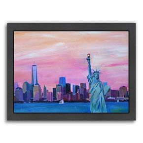 """Americanflat """"Manhattan Skyline With Downtown Skyline And Statue Of Liberty"""" Framed Wall Art"""