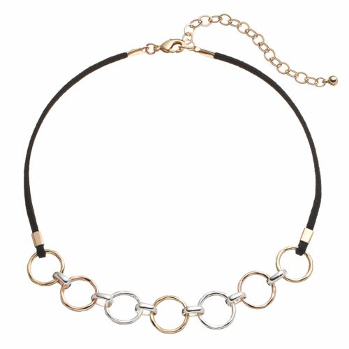 Apt. 9® Tri Tone Hammered Circle Link Choker Necklace