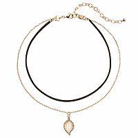 Apt. 9® Double Strand Leaf Charm Choker Necklace