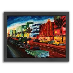 Americanflat 'Miami Ocean Drive With Mint Cadillac' Framed Wall Art