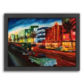 "Americanflat ""Miami Ocean Drive With Mint Cadillac"" Framed Wall Art"