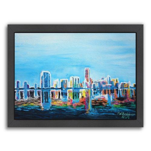 Americanflat Miami Skyline Silhouette Framed Wall Art