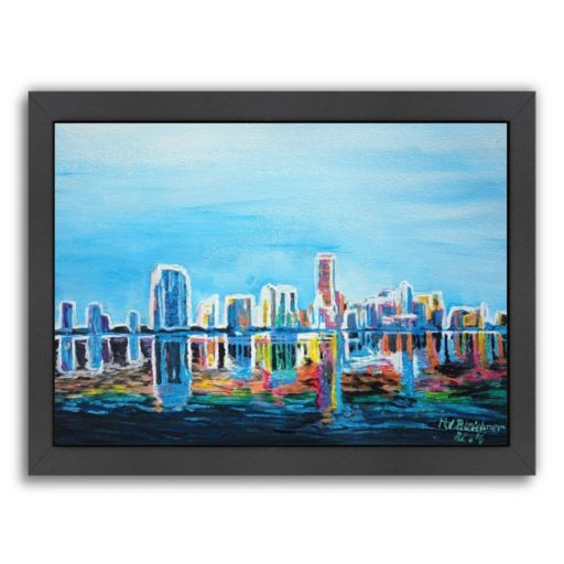 "Americanflat ""Miami Skyline Silhouette"" Framed Wall Art"