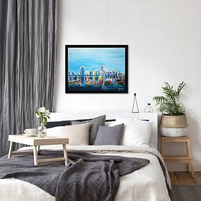 "Americanflat ""Miami Skyline Silhouette"" Framed Wall Art"
