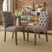 HomeVance Maplehurst Button Tufted Side Chair 2 pc Set