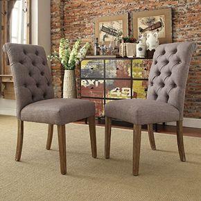 HomeVance Maplehurst Button Tufted Side Chair 2-piece Set
