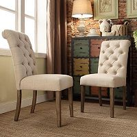 HomeVance Maplehurst Button Tufted Side Chair 2-piece Set