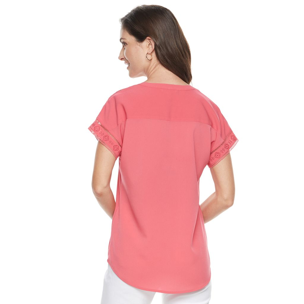 Women's Croft & Barrow® Embroidered Splitneck Crepe Top
