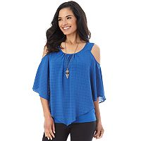 Women's AB Studio Cold-Shoulder Popover Top