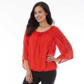 Women's AB Studio Lace-Trim Peasant Top