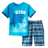 "Toddler Boy Boyzwear ""King of the Reef"" Shark Graphic Tee & Plaid Shorts Set"