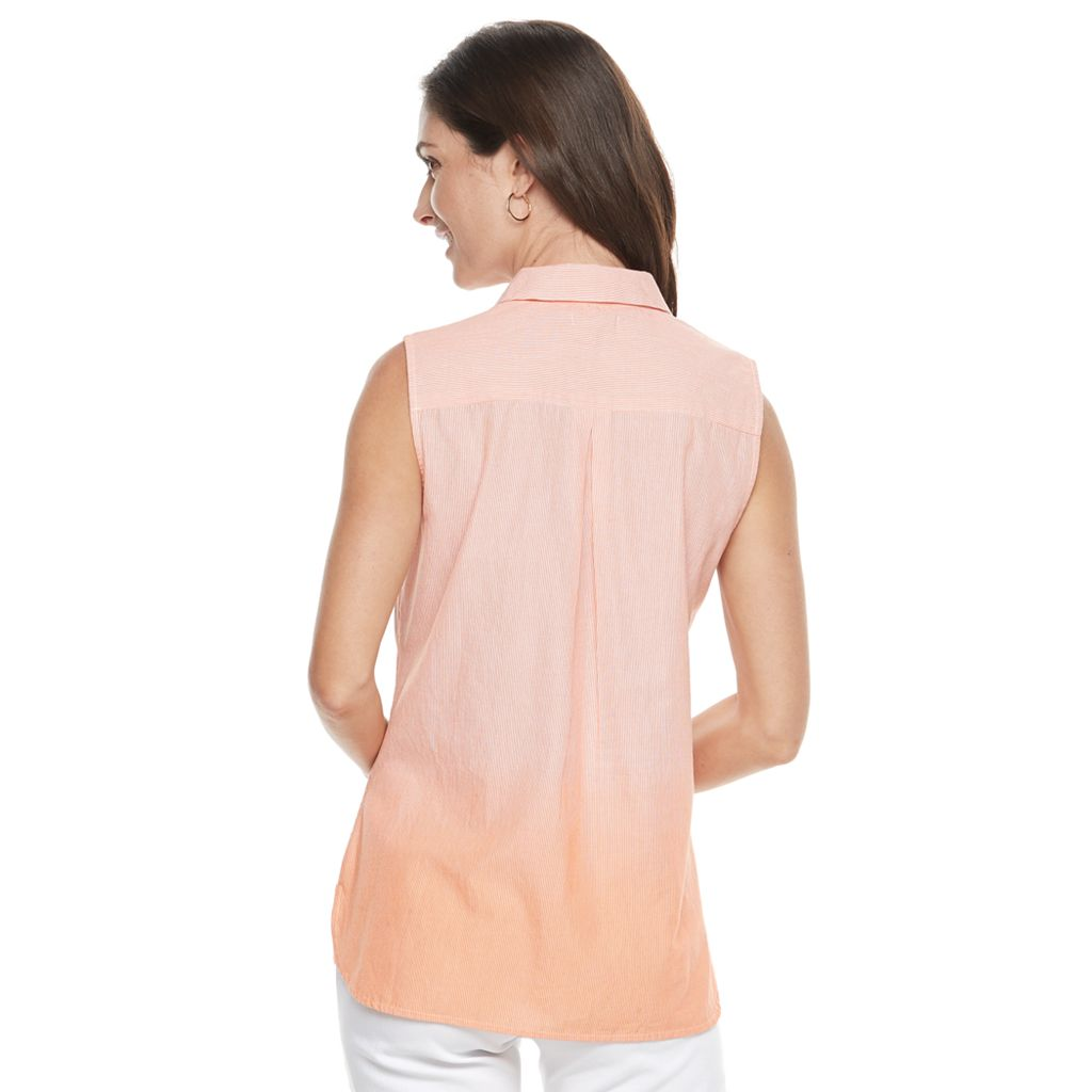 Women's Croft & Barrow® Striped Dip-Dyed Shirt