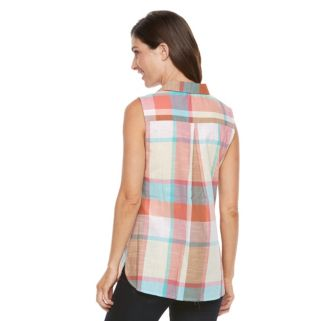 Women's Croft & Barrow® Plaid Sleeveless Shirt