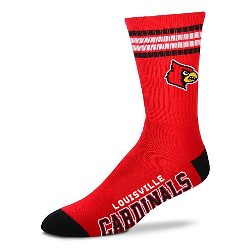 Adult For Bare Feet Louisville Cardinals Deuce Striped Crew Socks
