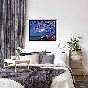 "Americanflat ""Mount Fuji With Lake And Almond Blossom Time"" Framed Wall Art"