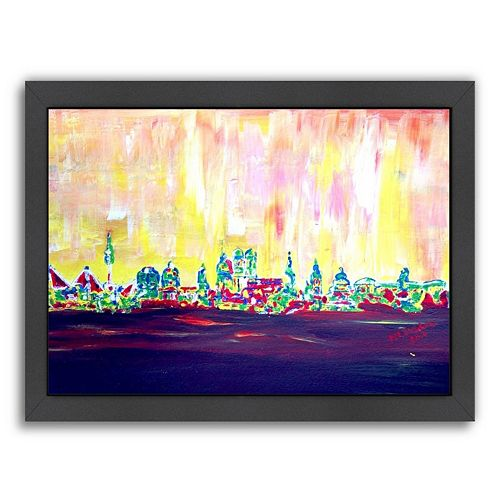 "Americanflat ""Muc Skyline In Neon Hell 2"" Framed Wall Art"