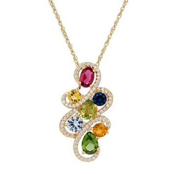 David Tutera 14k Gold Over Silver Simulated Gemstone & Cubic Zirconia Pendant