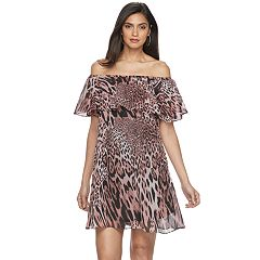 Petite Jennifer Lopez Off-The-Shoulder Ruffle Shift Dress