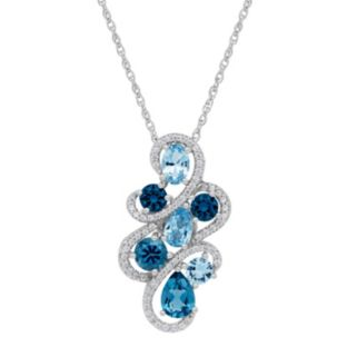 David Tutera Sterling Silver Simulated Blue Topaz & Cubic Zirconia  Pendant