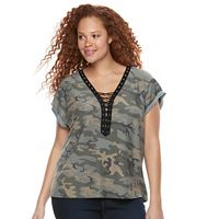 Plus Size Rock & Republic® Lace-Up Camouflage Tee