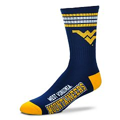 Adult For Bare Feet West Virginia Mountaineers Deuce Striped Crew Socks